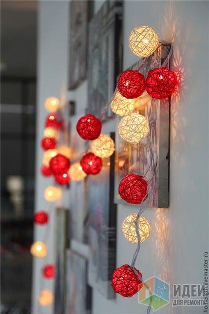 Гирлянда круглый год))) чем не интерьерный светильник?