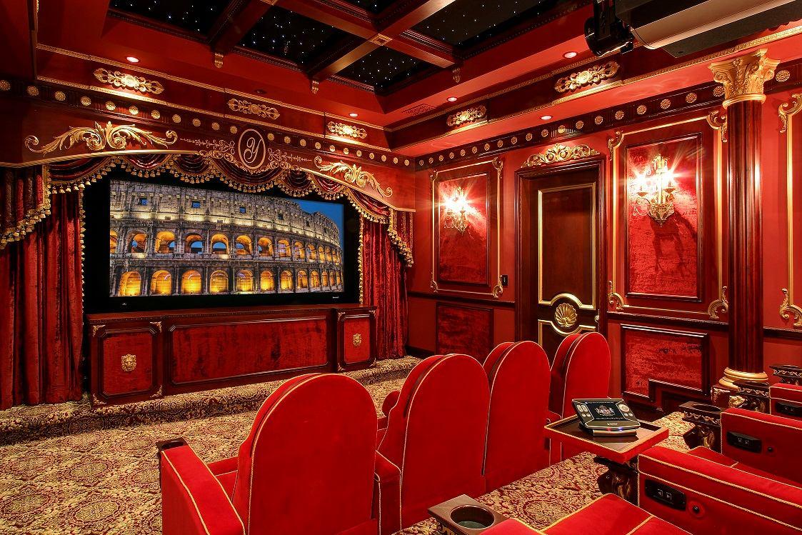 Домашний кинотеатр в цветах: красный, бордовый, коричневый, бежевый. Домашний кинотеатр в стилях: ближневосточные стили.