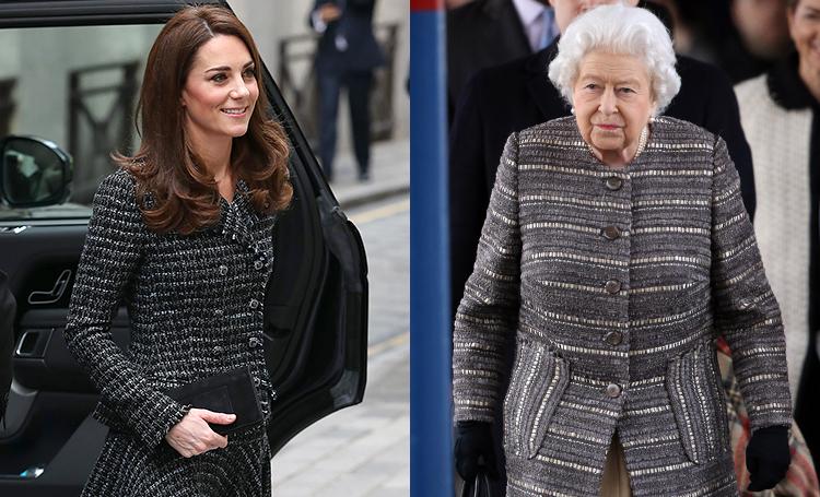 Все оттенки серого: Кейт Миддлтон и королева Елизавета вышли в свет в похожих образах