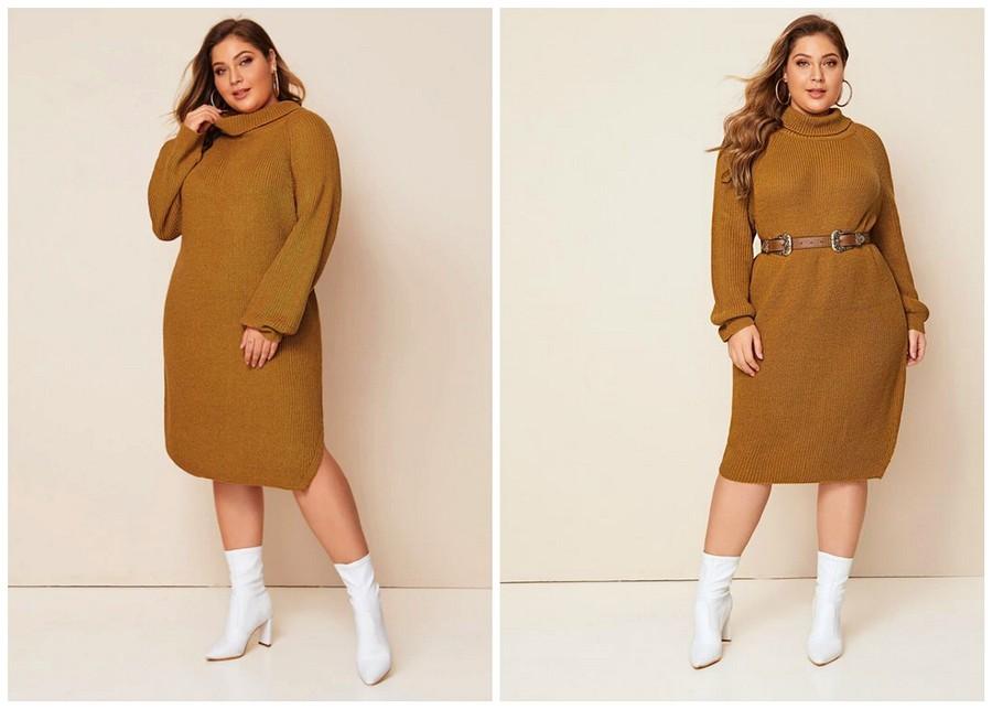Осенняя классика: трикотажное платье длины миди