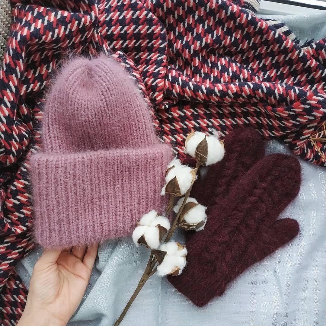 """Шапка спицами из пряжи """"Пух норки"""". Теплая двойная шапка с отворотом. Вяжет весь Инстаграм! вязание,женские хобби,рукоделие,своими руками,умелые руки,шапка"""