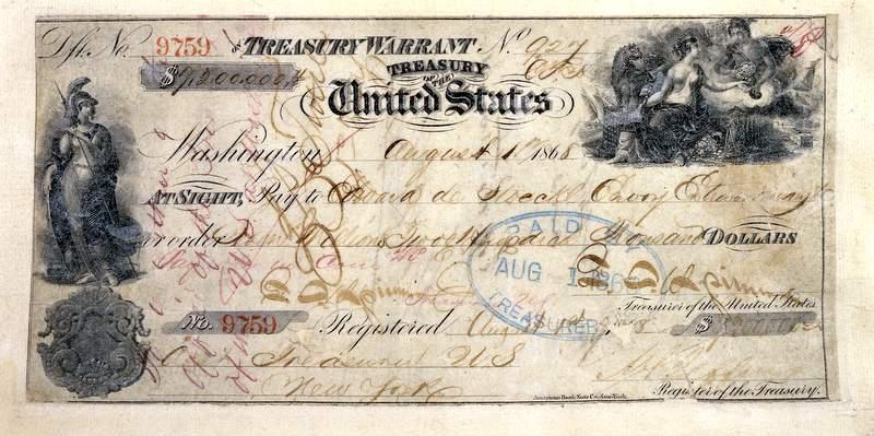 Чек, по которому была продана Аляска