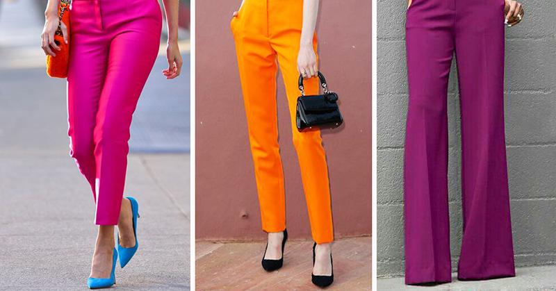С чем сочетать цветные брюки…