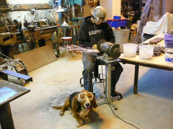 Пес наблюдает за работой нового сотрудника.