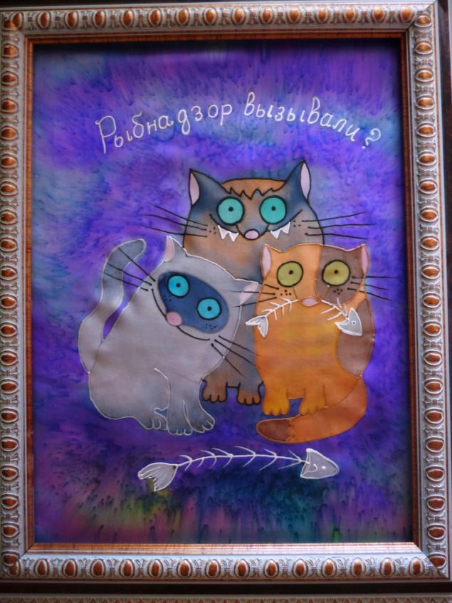 РЫБНАДЗОР.(панно)МК Холодный батик.от Виктории Игнатовой.