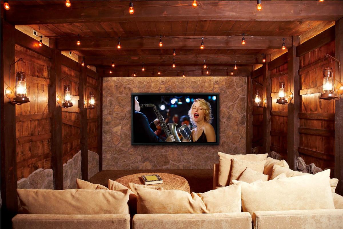 Домашний кинотеатр в цветах: темно-коричневый, коричневый, бежевый. Домашний кинотеатр в стилях: кантри.