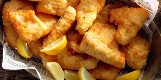 Рыба в кляре с лимонным соком