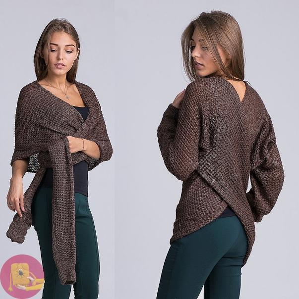 Теплый и удобный свитер - шарф: вяжется очень просто