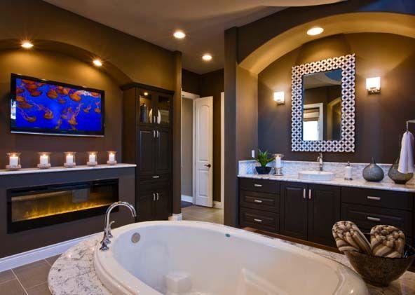 ванная комната с биокамином