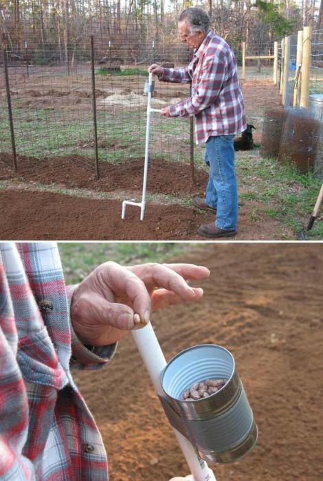Самодельное приспособление для высадки семян.