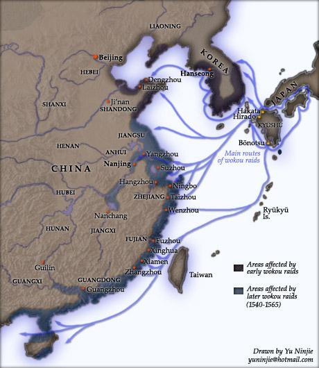 Карта грабажей японских пиратов.
