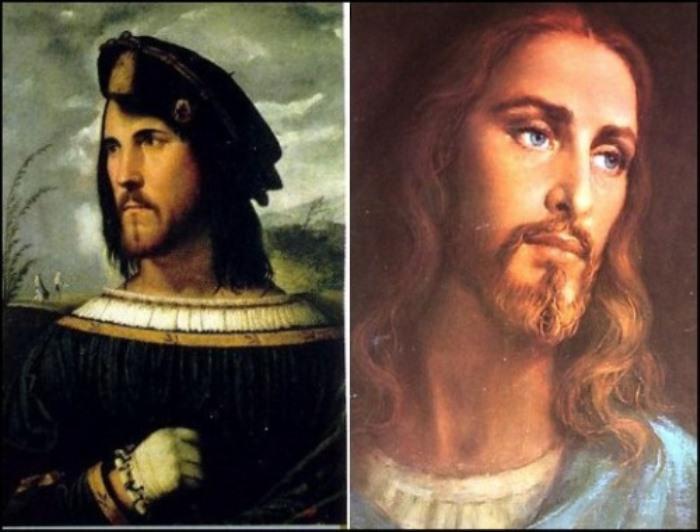Портреты Чезаре Борджиа и Иисуса.