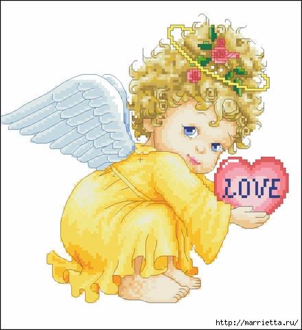 Схемы вышивки крестом «Ангелочек» (1) (440x480, 102Kb)