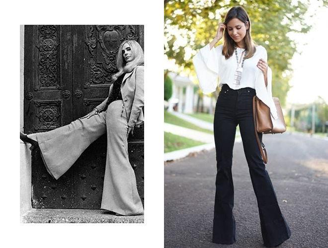 Расклешенные брюки 1970-х фото