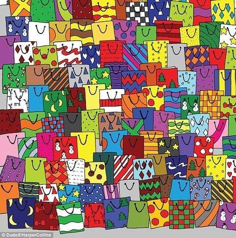 1.Найди открытку среди подарочных пакетиков головоломки, задача, иллюзия, интернет, прикол