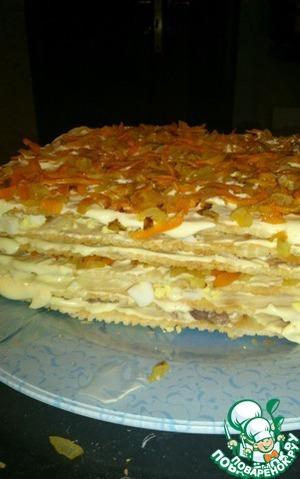 Рецепт: Слоёный рыбный торт