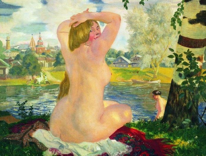 Купальщица-2. (1921). Автор: Б.М.Кустодиев.