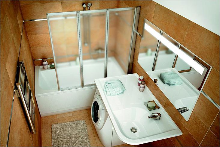 Оригинальный дизайн ванной комнаты со стиральной машиной