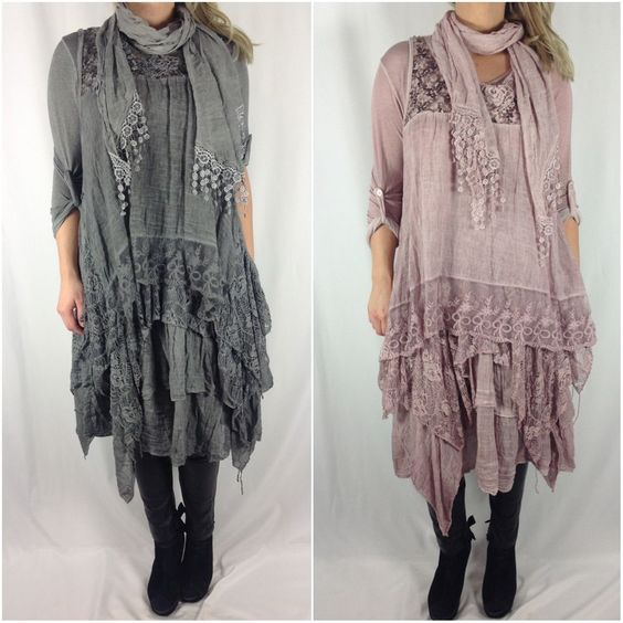 NEW Ladies Italian Lagenlook Boho Layering 3 Piece Lace Scarf Tunic Dress TOP | eBay: