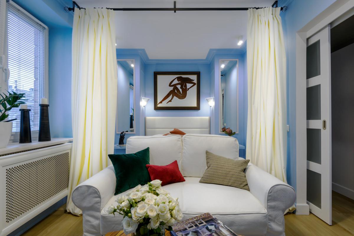 Гостиная в цветах: Бежевый, Бирюзовый, Лимонный, Синий, Темно-коричневый. Гостиная в стиле: Минимализм.