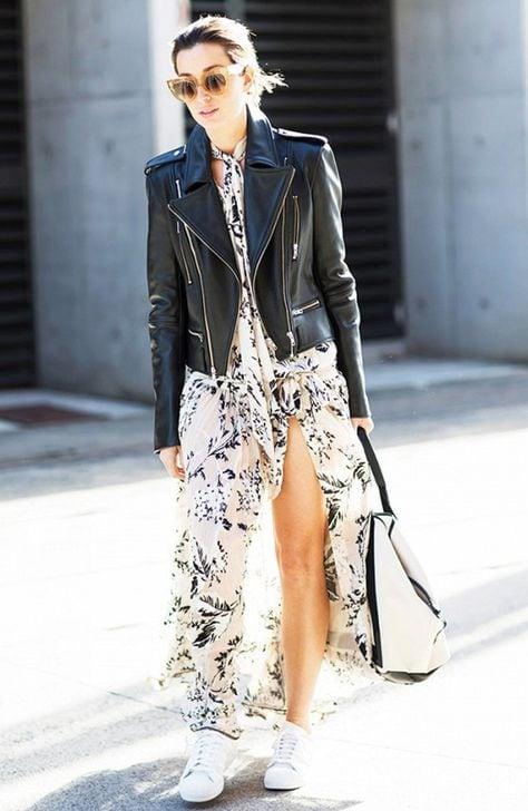 Стильные и удобные образы с длинной юбкой и кожаной курткой