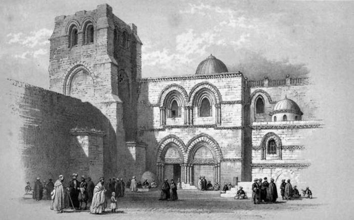 Удивительно, но на гравюре Джорджа Вильямса 1849 года лестница и расположенный справа от окна контрфорс не видны.