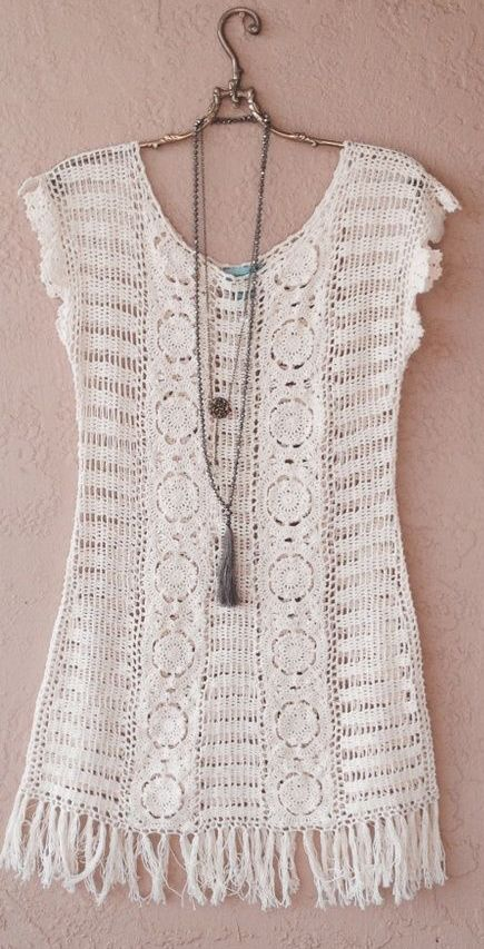 Le Tarte Crochet beach wedding dress with fringe: