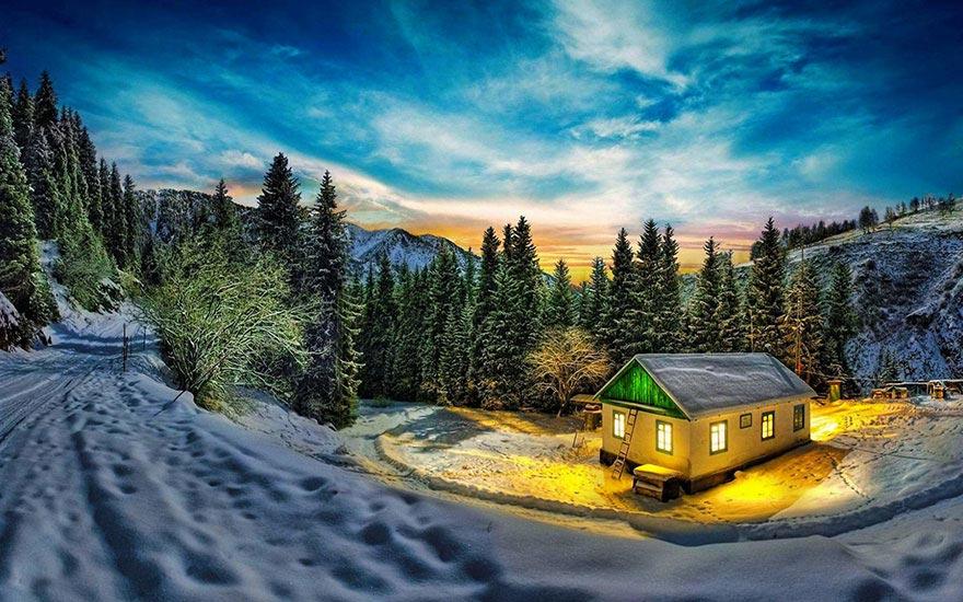 Живописные домики среди зимних пейзажей