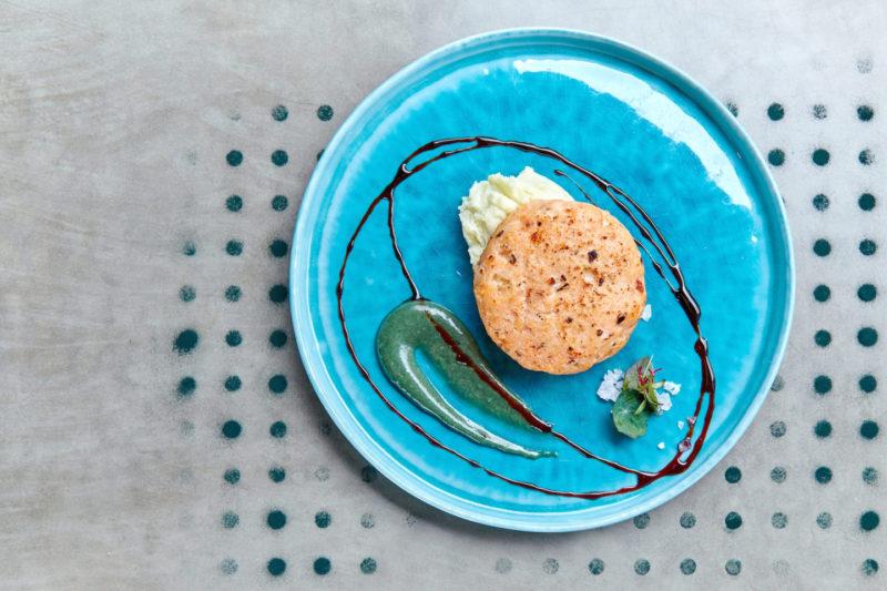 Рыбная котлета с васаби-пюре
