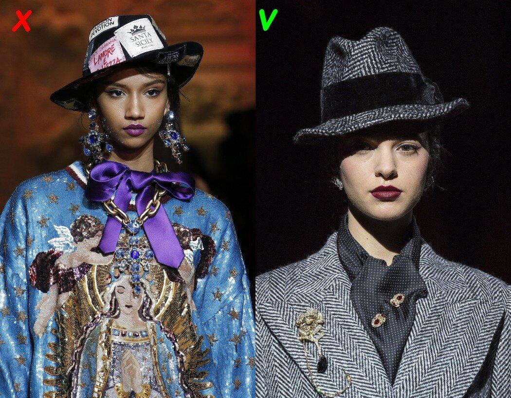 Dolce & Gabbana: слева - осень 2018, спрва - осень 2019