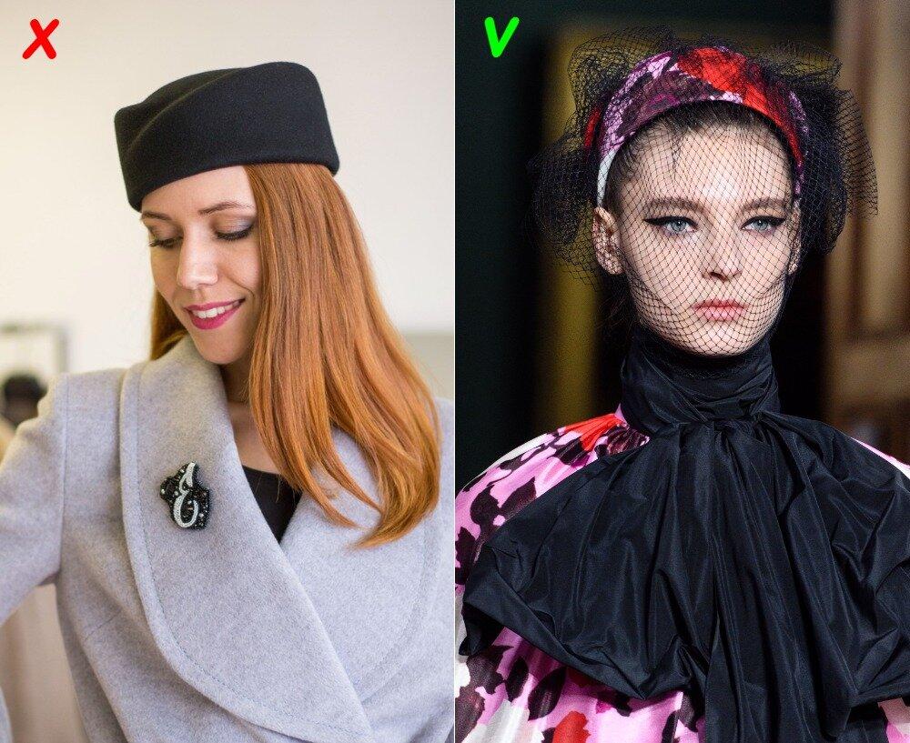 Слева - шляпка-пилотка (антитренд). Справа - шляпка-таблетка с вуалью (осень 2019)