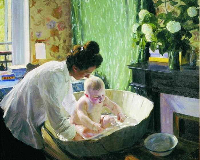 Утро. Жена Юлия с сыном Кириллом.(1904). Автор: Б.М.Кустодиев.