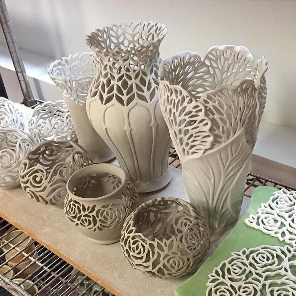 Керамический ажур - великолепные работы. handmake,поделки своими руками,стекло и керамика