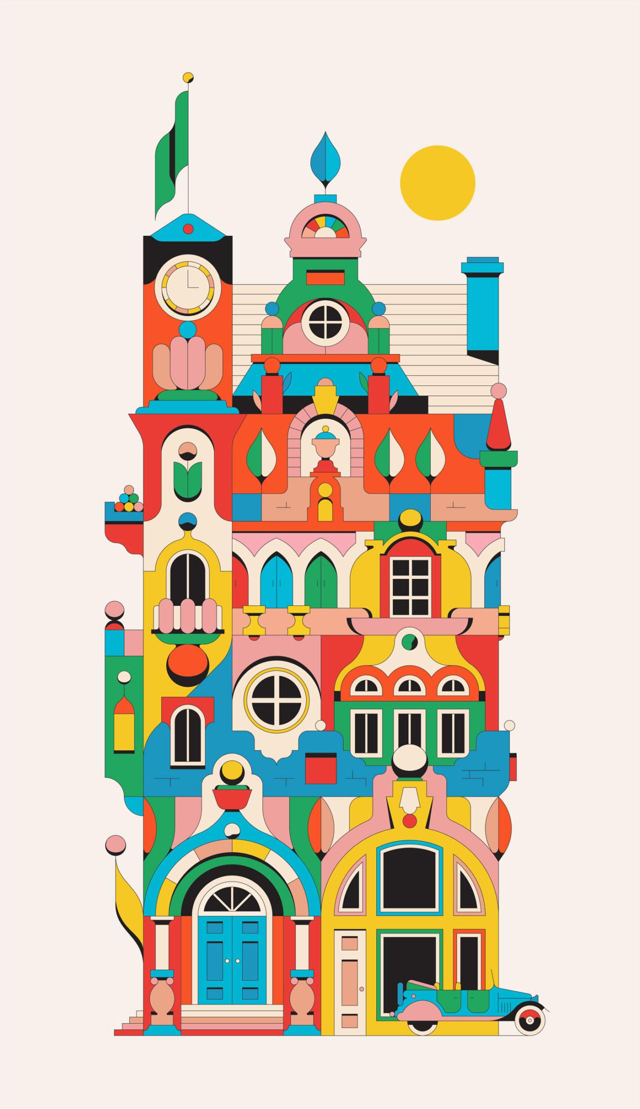 Красочный мир Келвина Спрэга американский, основными, портрет, женщины, окруженный, множеством, сверкающих, Экспериментируя, линиями, высоких, формами, находит, гармонию, преодолевая, разрыв, между, структурой, растений, среди, иллюстратор