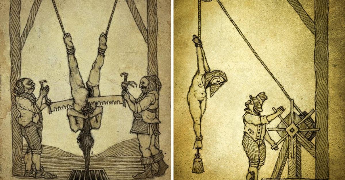 Вот как в старину наказывали преступников. Им даже можно посочувствовать...