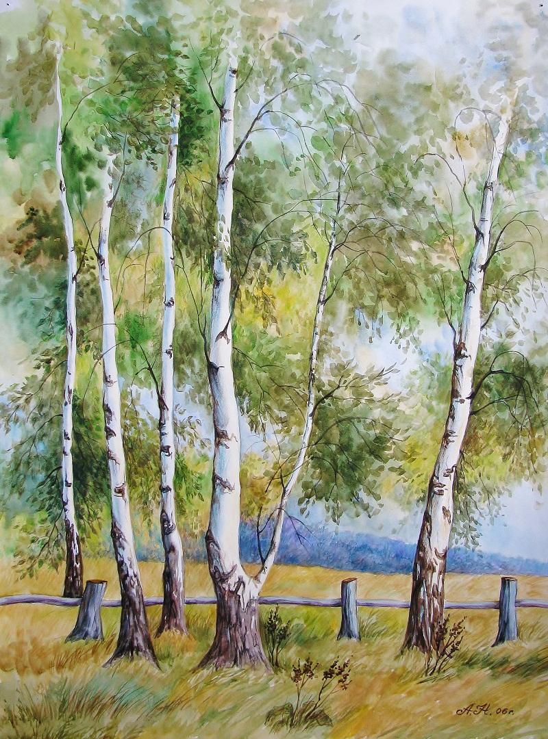 природа россии рисунок гуашью касаются