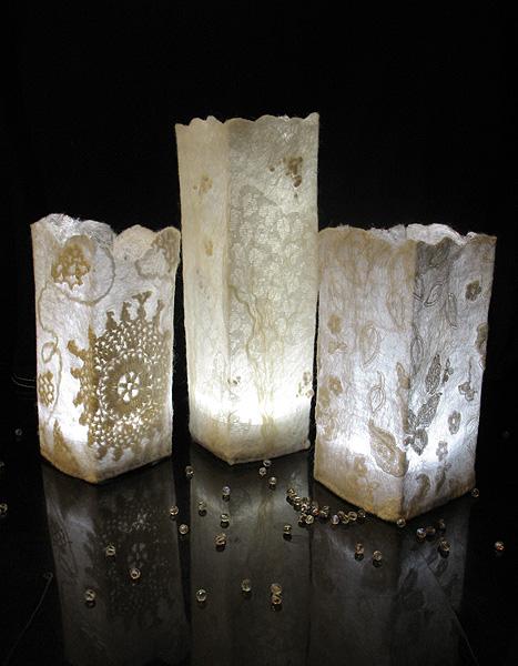 Шерстяные светильники «Морозные узоры» в технике нунофелтинг