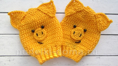 Поросята вязаные - варежки-царапки для малышей