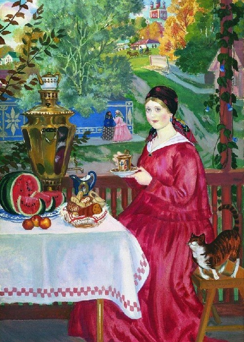 Купчиха на балконе. (1920). Автор: Б.М.Кустодиев.