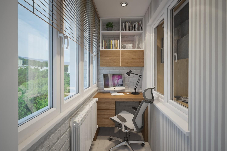 Лоджия с рабочим местом: идеи 8