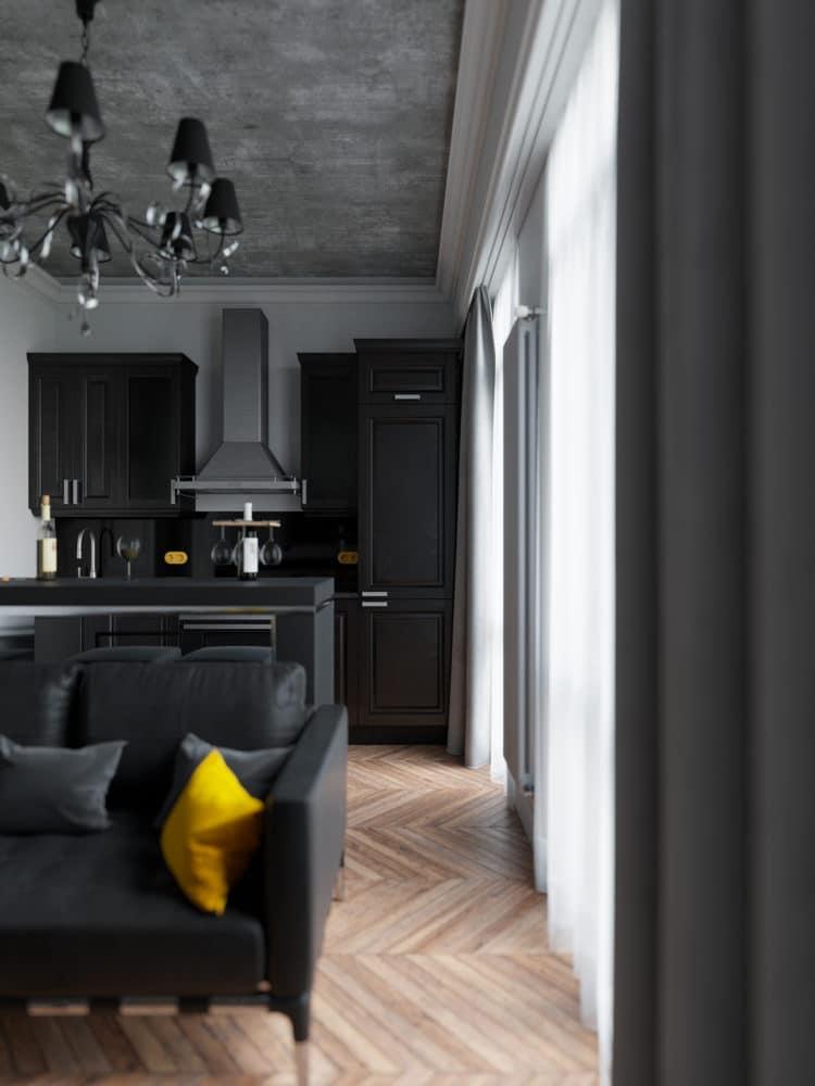 Кухня/столовая в цветах: Белый, Светло-серый, Серый, Черный, Синий. Кухня/столовая в стиле: Неоклассика.