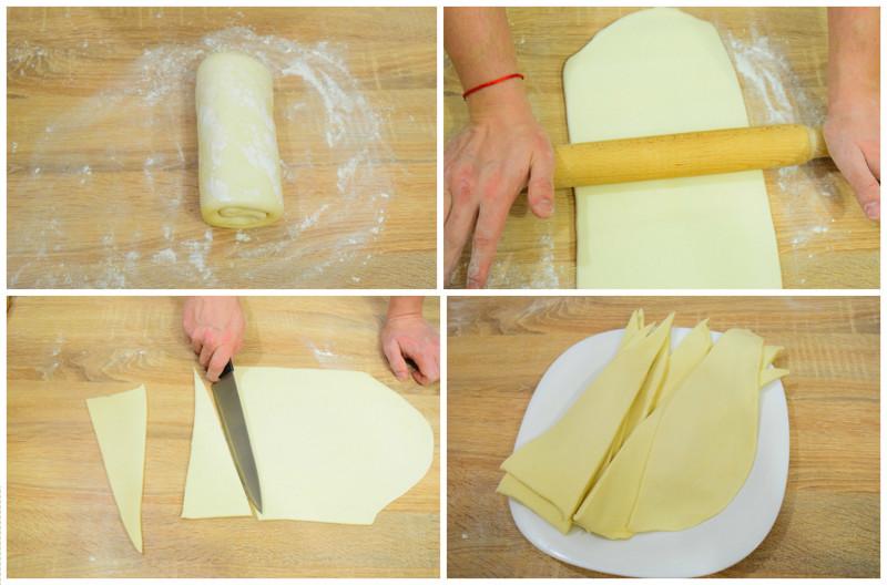 Раскатываем тесто в огромный прямоугольник (ну или что то похожее на прямоугольник) и режем на треугольники видео, еда, рецепт, своими руками, юмор