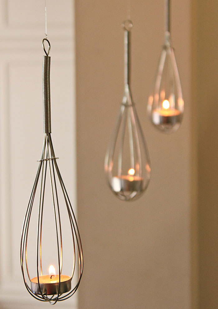 Hanging Whisk Tealight Holders