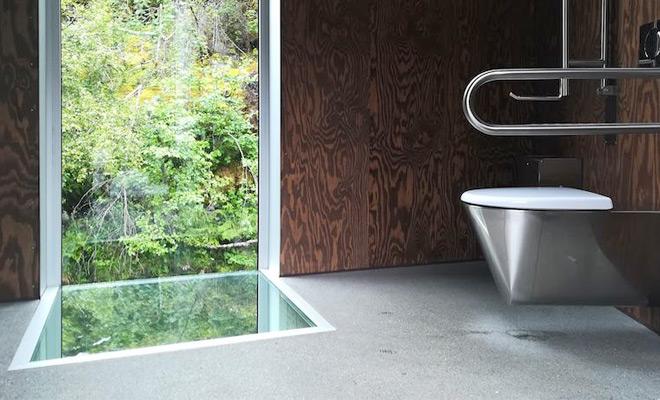 Мужчина включил камеру и показал устройство общественного туалета в Норвегии: водопад и окна в полу