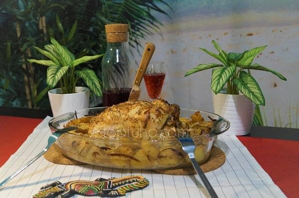 Картофель с горчицей и луком, ну и курица