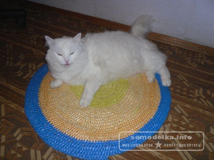 коврик для кошки из мусорных пакетов