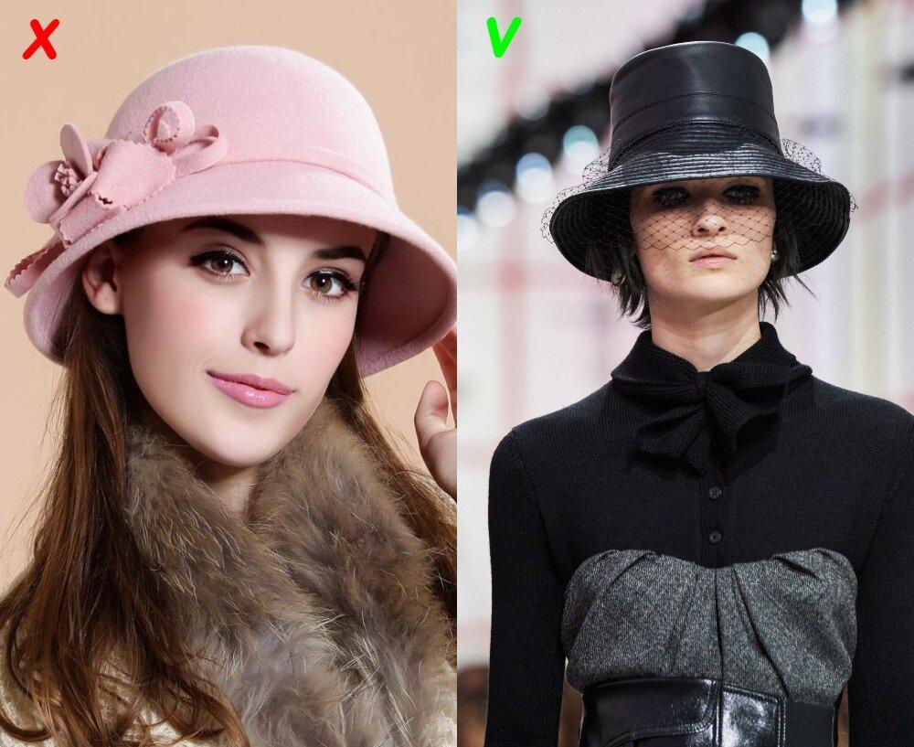 Клош: слева - антитренд, справа - трендовая модель с вуалью