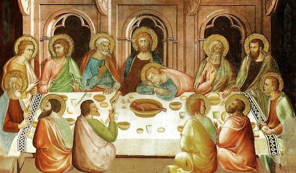 Фреска в San Gimignano, Италия.