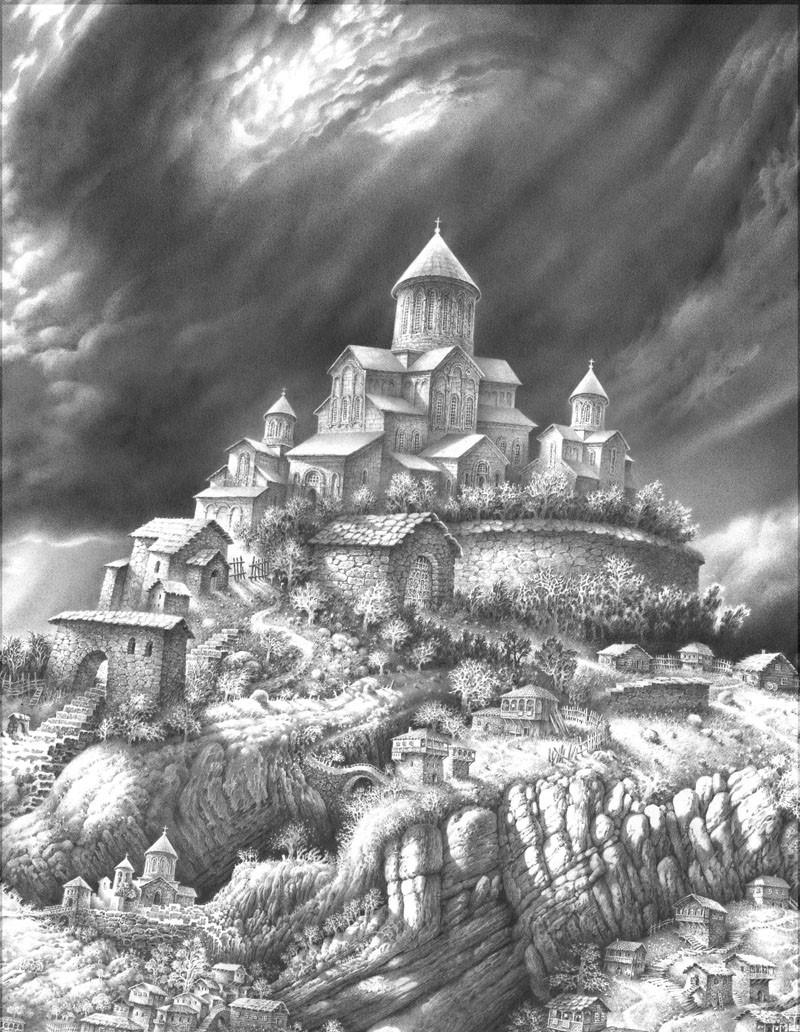 Картинки фантастические миры карандашом черно белые