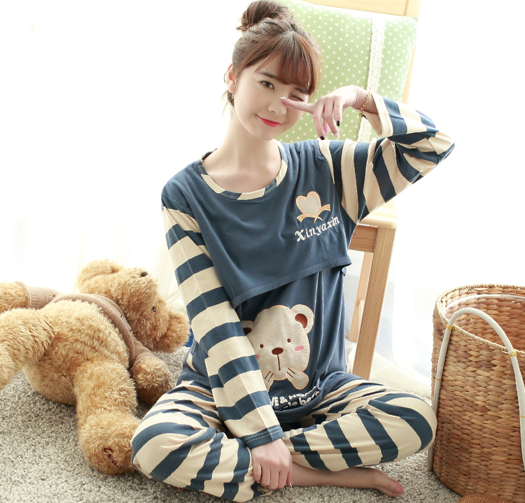 Stripe-Bear-Modal-Pregnant-woman-Sleep-Lounge-dress-for-nursing-pajamas-home-wear-suit-maternity-clothing